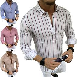 Men Striped Long Sleeve T Shirts Polo Shirts Smart Formal Wo