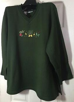 New Chic Plus size 2x women fleece top size V-Neck Green emb