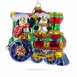 Penguins Riding Cho Cho Train Blown Glass Christmas Ornament